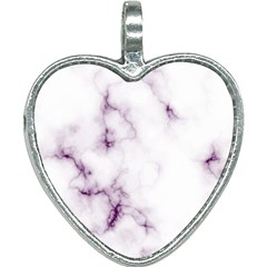 White Marble Violet Purple Veins Accents Texture Printed Floor Background Luxury Heart Necklace by genx