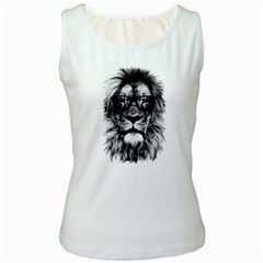Hipster Lion Women s White Tank Top by goljakoff
