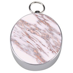 Marble With Metallic Rose Gold Intrusions On Gray White Stone Texture Pastel Pink Background Silver Compasses by genx