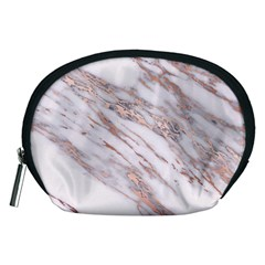 Marble With Metallic Rose Gold Intrusions On Gray White Stone Texture Pastel Pink Background Accessory Pouch (medium) by genx