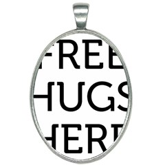 Free Hugs Here Oval Necklace by goljakoff