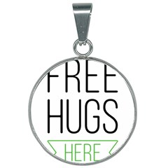 Free Hugs Here 25mm Round Necklace by goljakoff