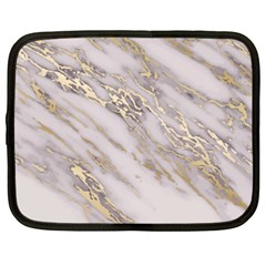 Marble With Metallic Gold Intrusions On Gray White Stone Texture Pastel Rose Pink Background Netbook Case (xxl) by genx