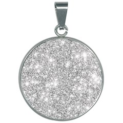 Silver And White Glitters Metallic Finish Party Texture Background Imitation 30mm Round Necklace by genx