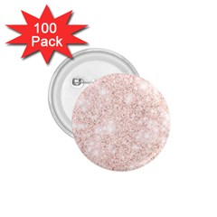 Rose Gold Pink Glitters Metallic Finish Party Texture Imitation Pattern 1 75  Buttons (100 Pack)