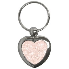 Rose Gold Pink Glitters Metallic Finish Party Texture Imitation Pattern Key Chain (heart) by genx