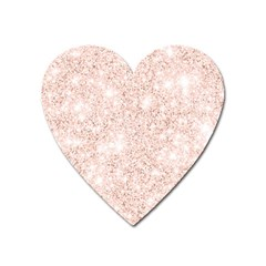 Rose Gold Pink Glitters Metallic Finish Party Texture Imitation Pattern Heart Magnet by genx