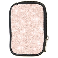 Rose Gold Pink Glitters Metallic Finish Party Texture Imitation Pattern Compact Camera Leather Case by genx