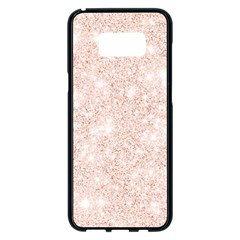 Rose Gold Pink Glitters Metallic Finish Party Texture Imitation Pattern Samsung Galaxy S8 Plus Black Seamless Case by genx