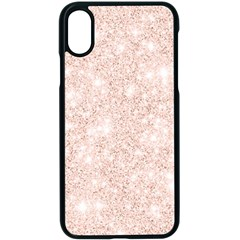 Rose Gold Pink Glitters Metallic Finish Party Texture Imitation Pattern Iphone Xs Seamless Case (black) by genx