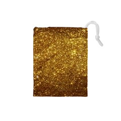Gold Glitters Metallic Finish Party Texture Background Faux Shine Pattern Drawstring Pouch (small) by genx
