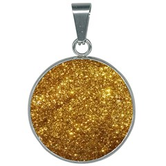 Gold Glitters Metallic Finish Party Texture Background Faux Shine Pattern 25mm Round Necklace by genx