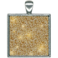 Retro Gold Glitters Golden Disco Ball Optical Illusion Square Necklace by genx