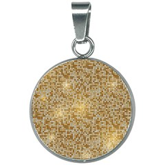Retro Gold Glitters Golden Disco Ball Optical Illusion 20mm Round Necklace by genx