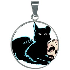 Black Cat & Halloween Skull 30mm Round Necklace