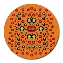 Happy Pumkins And Ghosts And  They Love The Season Round Mousepads by pepitasart