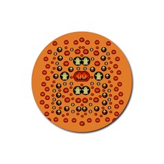 Happy Pumkins And Ghosts And  They Love The Season Rubber Coaster (round)  by pepitasart