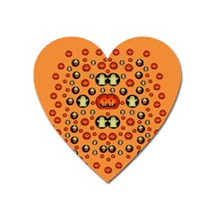 Happy Pumkins And Ghosts And  They Love The Season Heart Magnet by pepitasart