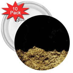 Golden Torn And Black Marble 3  Buttons (10 Pack)