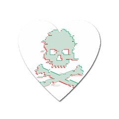 Glitch Skull Heart Magnet by goljakoff