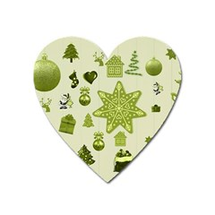Christmas Symbols Decoration Heart Magnet by Wegoenart