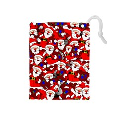Nicholas Santa Christmas Pattern Drawstring Pouch (medium) by Wegoenart