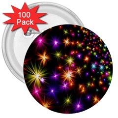 Star Colorful Christmas Abstract 3  Buttons (100 Pack)