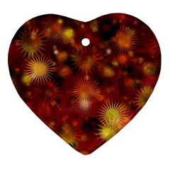 Star Abstract Background Wallpaper Heart Ornament (two Sides)