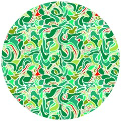 Green Abstract Drops Pattern Wooden Puzzle Round