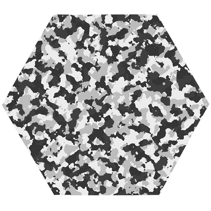 Winter forest camo pattern Wooden Puzzle Hexagon