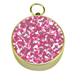 Pink Camo Pattern Gold Compasses