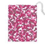 Pink camo pattern Drawstring Pouch (4XL) Front
