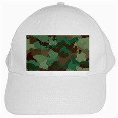 Forest Camo Pattern White Cap