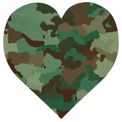 Forest Camo Pattern Wooden Puzzle Heart