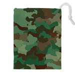 Forest camo pattern Drawstring Pouch (3XL) Front
