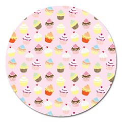 Cakes Pattern Magnet 5  (round)