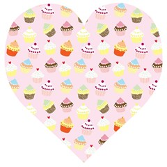Cakes Pattern Wooden Puzzle Heart