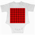 Red buffalo plaid Infant Creepers Front