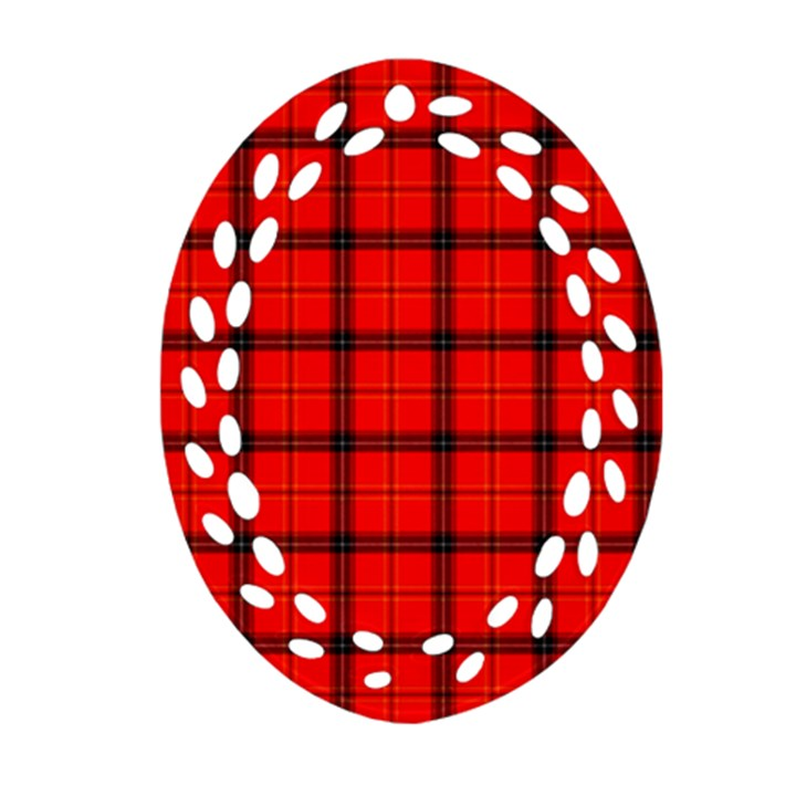 Red buffalo plaid Oval Filigree Ornament (Two Sides)