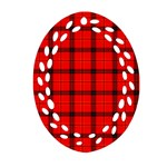 Red buffalo plaid Oval Filigree Ornament (Two Sides) Back