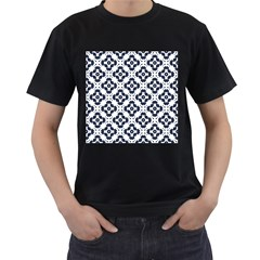 Abstrait Formes Bleu  Men s T-shirt (black) (two Sided) by kcreatif