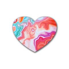 Colorful Agate Rubber Coaster (heart)  by goljakoff