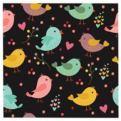 Birds Cute Pattern Background Wooden Puzzle Square by Vaneshart