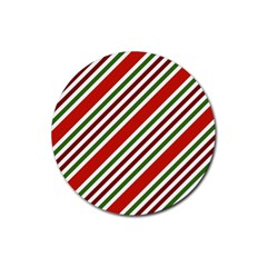 Christmas Color Stripes Rubber Round Coaster (4 Pack)