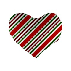 Christmas Color Stripes Standard 16  Premium Flano Heart Shape Cushions by Vaneshart