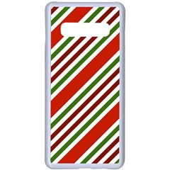 Christmas Color Stripes Samsung Galaxy S10 Plus Seamless Case(white)