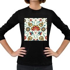 Baatik Print  Women s Long Sleeve Dark T Shirt by designsbymallika