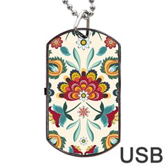 Baatik Print  Dog Tag Usb Flash (one Side) by designsbymallika