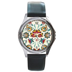 Baatik Print  Round Metal Watch by designsbymallika