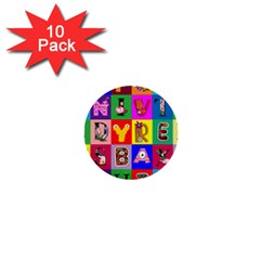 Alphabet Pattern 1  Mini Buttons (10 Pack)